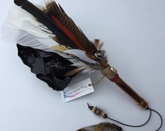 Feather Embellished  Copper  Smudge fan with tassel