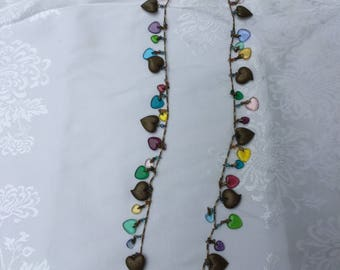 Hearts Brass and Glass Charm Necklace - Vintage Glass Works Studio Signed