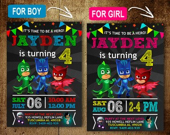 Pj Mask Birthday Invitation. Invitations. Pj Mask Invitation. Pj Mask Birthday Party. Pj Mask Party. DIY