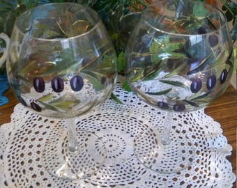 Huge RARE Crystal Baloon wine/champagne/margarita glasses etched...AMAZING