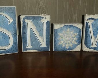 Snow! Wood Block Decor