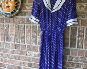Vintage 1940's/1950's Purple Diner Shirt Dress