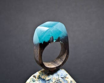Wood ring Resin ring Handmade ring Natural wooden ring Forest DreamerCz Epoxy ring for her for birthday Wood jewelry Wooden ring Underwater