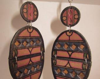 painted leather Bohemian tribal earrings