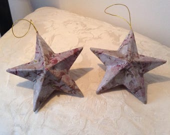 Handmade Decoupage Christmas Stars - 2 as shown