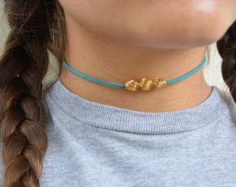 Teal Suede Choker with Twisted Gold Bead