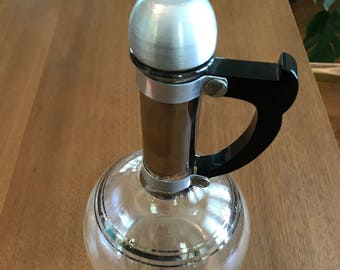 Silver Plated Mid Century Pyrex Tempered Glass Carafe (with top)