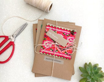 Greeting card SET x4 - Hill tribe textile large
