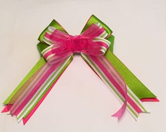 Hair Bow Pink / Green