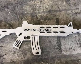 AR15 M16 Silhouette Metal Wall Sign