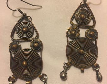 Vintage Hand Crafted Brass Earrings