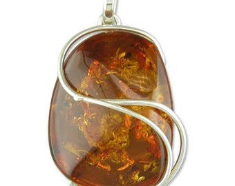 Large Cognac Amber Swirl Overlay Sterling Silver Pendant