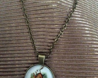 alice in wonderland white rabbit cabochon necklace vintage style