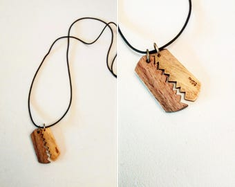 24k Gold Dipped Dog Tag Pendant with Wood on Leather Cord