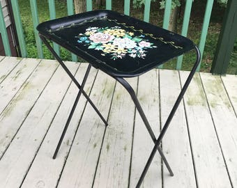 Vintage Collapsible TV Dinner Stand Folding Floral Metal Food Tray