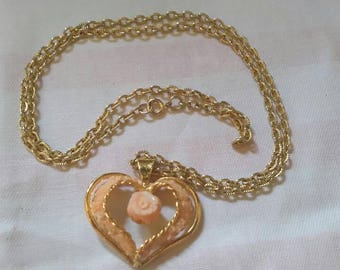 Pink Gold plated heart charm necklace