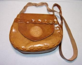 Tan Leather Mandala Purse