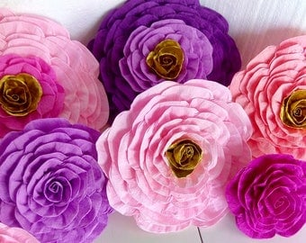 12 giant paper flowers large wall Flower pink Purple gold poppy nursery decor party decorations baby bridal shower decoration birthday party