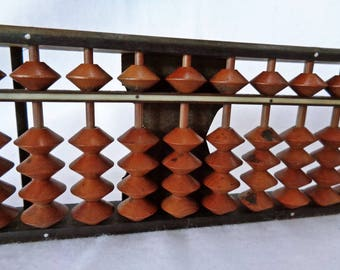 VJ43 : Vintage Japanese wooden small soroban abacus