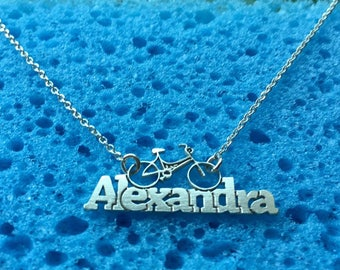 Alexandra name necklace with bicycle,sterling silver 925