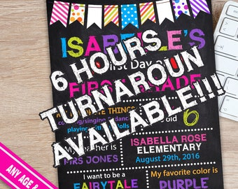 First Day of First Grade Sign - Back to School Signs - First Day of School Sign - Chalkboard School Sign
