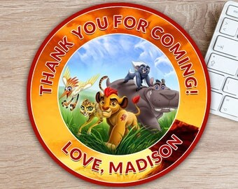 ON SALE 30%The Lion Guard Favor Tag - The Lion Guard Thank You Tag - Lion Guard Birthday Party Printables