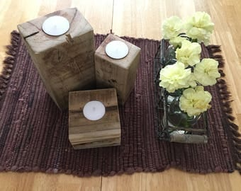 Set of 3 Rustic Wooden Tealight Candle Holders