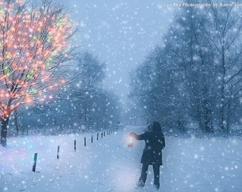 Landscape Photography, Wall Art, Print, Nature, Trees, Snow Winter, Photography, Atmosphere, Christmas, Lights, Snowflake, Wall Deco,