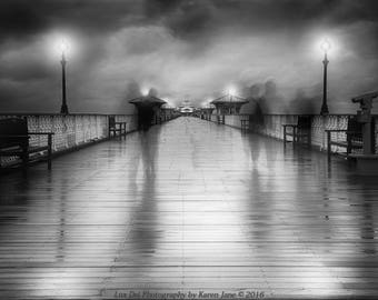 Fine Art Photography, Black and White Photography, Surreal Art, Fine Art Print, Long Exposure Photography, Surrealism, Wall Art, Pier Clouds