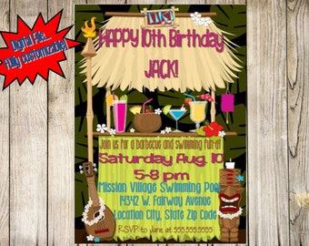 Tiki Hut Invitation