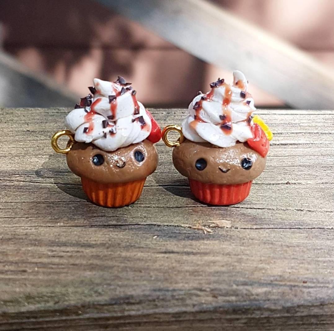 fall cupcake charms, cupcake charms, halloween charms, polymer clay