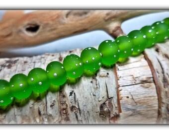 Light Grass Green Accents**Handmade Lampwork Beads**Silver**