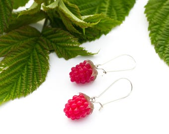 Raspberry earrings bright jewelry gift for women silicone cloudberry earrings woodland style  red crimson berry fruit food jewelry