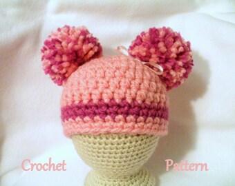 Crochet Baby Hat PATTERN Pom Pom Hat Baby Hat Pattern Baby Girl's Hat