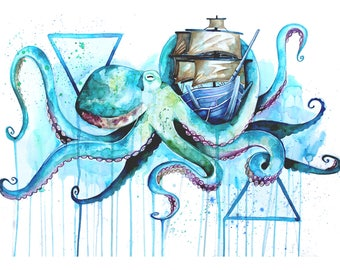 Octopus Watercolour A4