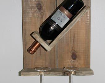 Single bottle, twin glass wine rack