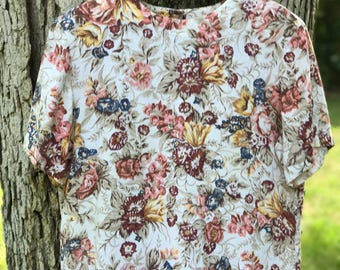 floral linen blend blouse and short two piece set