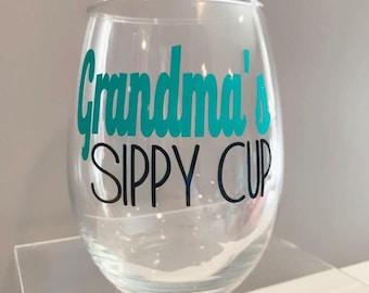 Grandma's Sippy Cup Stemless Wine Glass