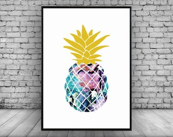 Pineapple;Wall Print;Home Decor;Wall Hanging;Poster;Art;Colourful;A4/A3/A5