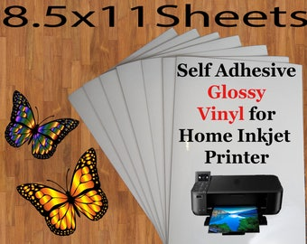 Self Adhesive Printable Glossy Vinyl for Home Inkjet Printers,8.5 x11 Sheets, Printable Vinyl, Print Your Own Decals