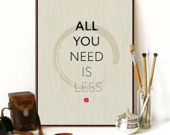 "Modern Minimalist ~ ""All You Need Is Less"" Art Print Canvas Painting Zen Buddha (No Frame)"