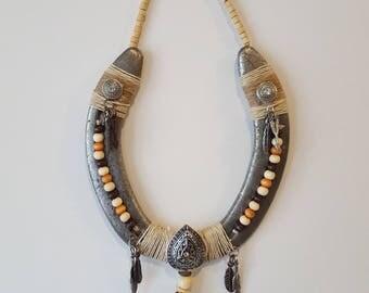 Decorated horseshoe in Southwest style.