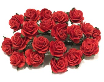 Red Open Mulberry Paper Roses Or014