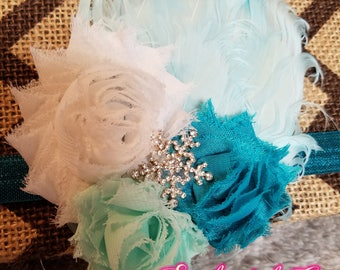Frozen Inspired Shabby Feather Headband