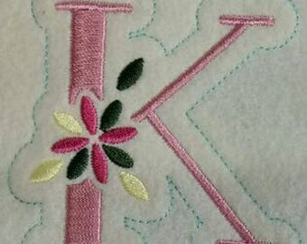 front k embroidery design