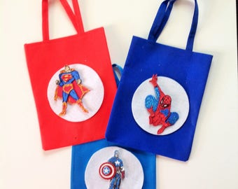 10 Pcs Super Heroes Justice League Bag Treat Bags Goodie Bags Candy Bags Superman Spiderman Hulk Captain America Iron man