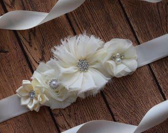 Ivory Sash , #2 ,flower Belt, maternity sash, wedding sash, flower girl sash, maternity sash belt