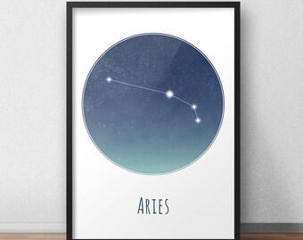 Aries Constellation Art Print, Star Sign Print, Constellation Art, Zodiac Poster, Zodiac Print, Astrology