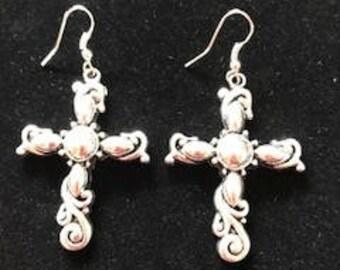 Silver Cross Dangle Drop Earrings