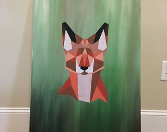 Large Geometric Fox Painting